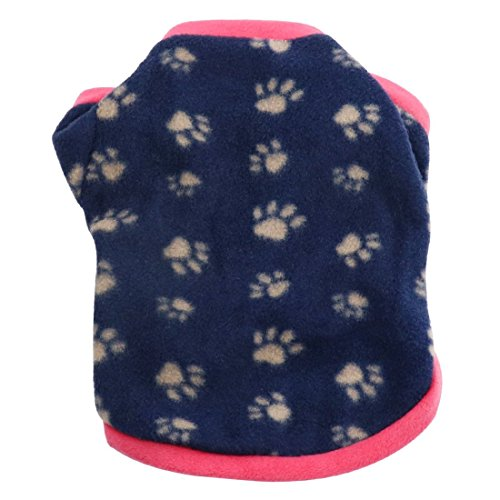 Idepet Warm Pet Dog Sweater with Paw Print Soft Fleece Puppy Clothes for Small Dog Boys Girls Teddy Chihuahua Yorkshire Poodle Pug Pomeranian Shih Tzu Beagle (Shih Tzu Fleece)