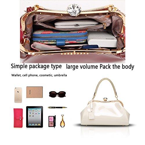 Women's Tisdaini Simple Shoulder White Handbag Bag Messenger New Diamond Leather Milky Patent Fashion dqqT6HFr