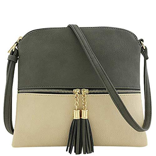 Big Promotion!!!HYIRI Women's tassel crossbody bag middle zipper contrast color shoulder bag Messenger bag (Mk Bags Imitation)