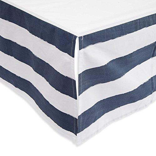 Little Unicorn Percale Crib Skirt - Navy Stripe by Little Unicorn
