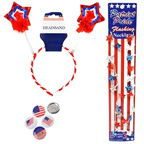 Fourth Of July Halloween Costumes (Patriotic Headband Bopper Star Party Accessory Costume Set Kit 4th of July Red White and Blue Button Pins, & Light Up Flashing Star Necklace)