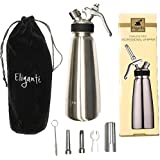 Eligantè Professional Gourmet Stainless Steel Whipped Cream Dispenser/Cream Whipper (1 Pint) with Decorating Nozzles, Brush, and Velvet Storage Case