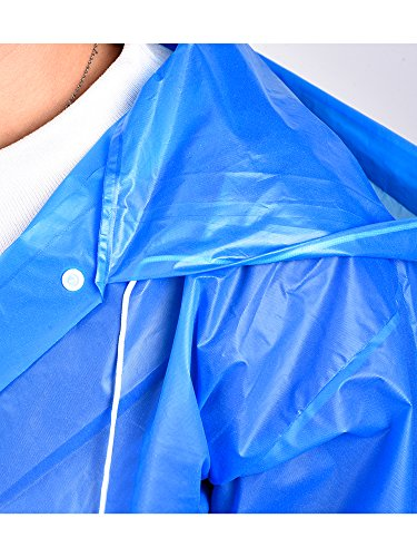 Mudder Kids Children Rain Poncho Raincoat Portable with Hoods and Sleeves (Blue)
