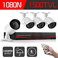 IHOMEGUARD 1080N Home Security Camera System  4 Outdoor 720P HD 1500TVL 4CH Video Surveillance System no Hard...