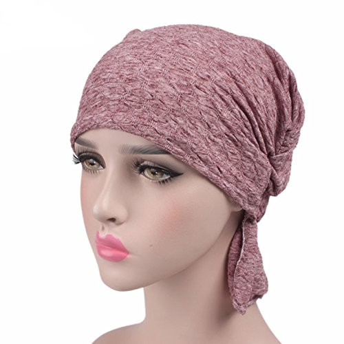 DancMolly Ruffle Chemo Turban Cancer Headband Scarf Slouchy Beanie Cap Muslim Scarf Headwear for Cancer