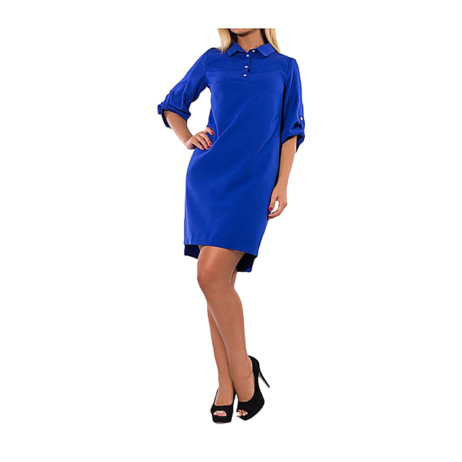 PeeNoke Women Plus Size Loose Office Dress Three Quarter Sleeve Blue Vestidos 5XL 6XL at Amazon Womens Clothing store: