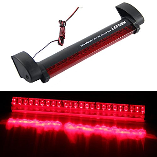 NNDA CO New Red 24 LED Vehicle Car Auto Fog Stop Tail Warning Light Rear Brake Lamp 12V 0.5' Green Bar