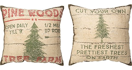 Primitives by Kathy Winter Pine Woods Throw Pillow, 14-Inch Square