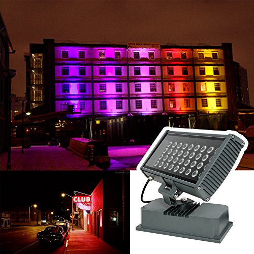 H-TEK 108W RGBW LED Wall Washer Light with RF Remote Controller, Color Changing LED Flood Light for Outdoor/Indoor Lighting Projects Hotels, Resorts, Casinos, Billboards, Building Decorations, Parties by H-TEK (Image #6)