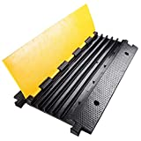 Yescom 5 Channel Rubber Electrical Wire Cable Cover Ramp Guard Warehouse Cord Cable Ramp