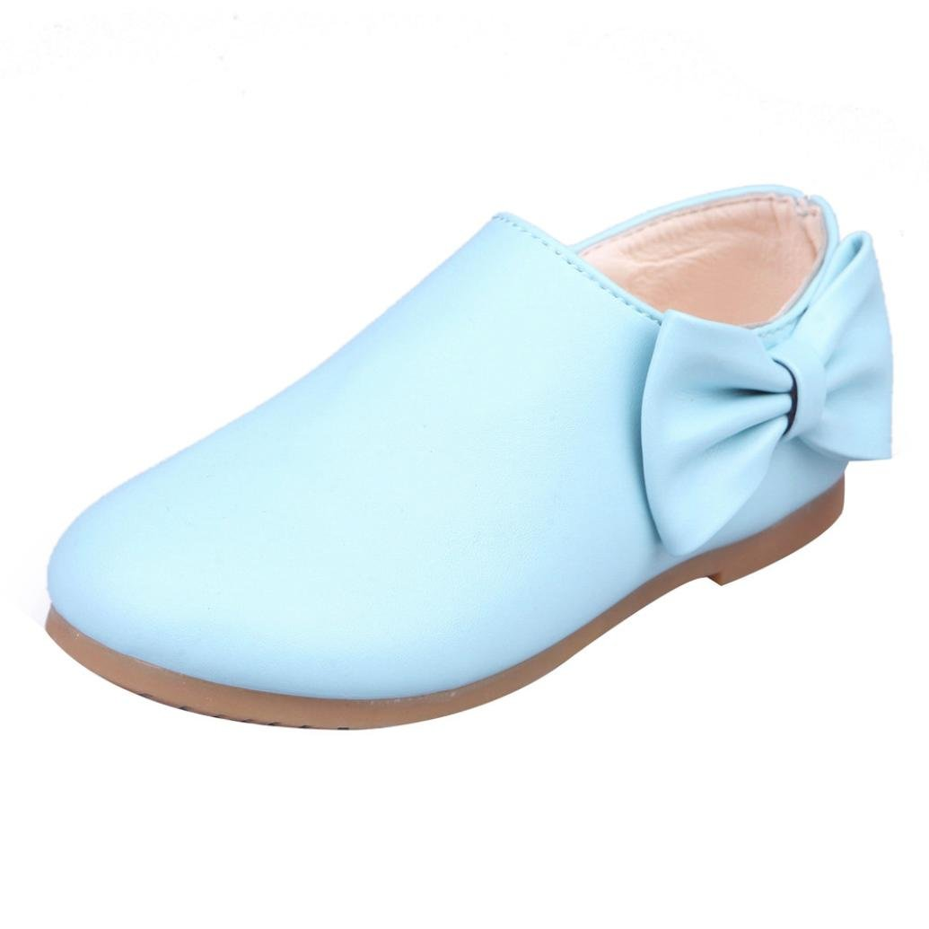 Celemdi Girls Children Bowknot Sneakers Toddler Zipper Booties Leather Shoes (US:10/Foot Length:inch 6.5'', Blue)