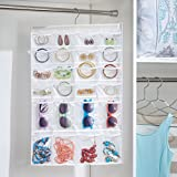 mDesign 48 Pocket Hanging Jewelry Organizer Storage Bag with Over Closet Rod Hanging Hook: Double Sided, Easy-View Clear Pockets with Fabric Backing and Trim, Reinforced Top – White/Clear