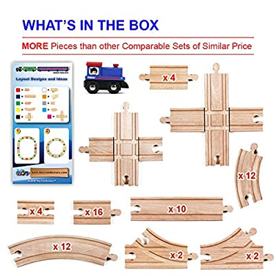67 Piece Wooden Train Track Set with Train Car by Tiny Conductors - 100% Real Wood, Compatible with Thomas and All Other Major Brands Wooden Toy Railroad Sets (67-Piece) by DynaMax Creations LLC