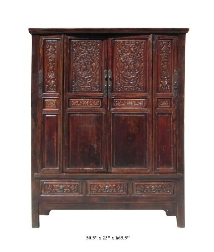 Antique Chinese Armoire (Chinese Antique Solid Wood Hand Carving Armoire Cabinet Af852)