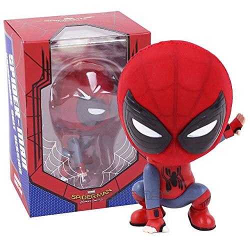 - Hot Toys Cosbaby Marvel Spider Man Homecoming The Spiderman Q Version Mini PVC Figures Toys Car Home Decoration Doll 5 Styles (Spide 5)