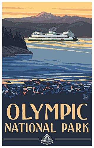 Northwest Art Mall Olympic National Park Ferry Travel Art Print Poster by Paul A. Lanquist (12