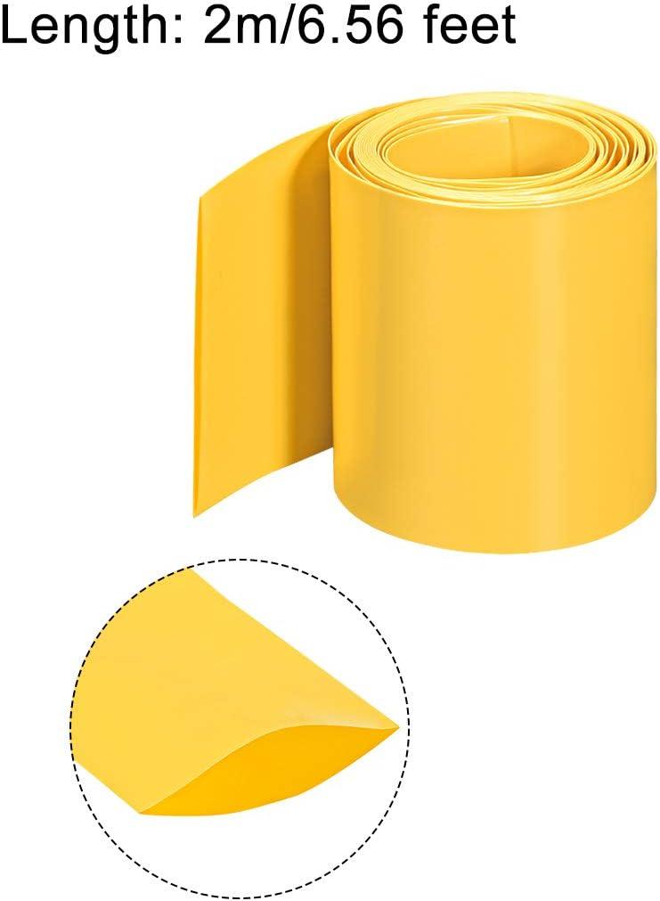 sourcing map PVC Termoretr/áctil Tubo 60mm Plano Ancho Pre Corte Termoretr/áctil Envoltura Tubo para Tres 18650 5m Longitud Amarillo