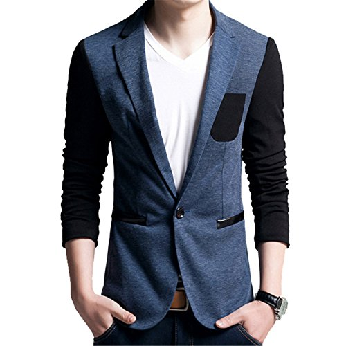 Juseesij 2017 New Fashion Casual Men Blazer Cotton Slim Korea Style Plus Size M-5Xl Male Blazers Blue Xxl