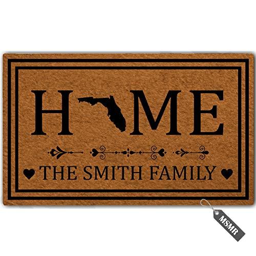 MsMr Personalized [Your Name] Door Mat Indoor Outdoor Custom Doormat Decorative Home Office Welcome Mat Florida Door Mat 23.6