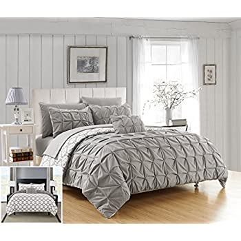 Chic Home 4 Piece Zissel Pleated Pintuck and printed REVERSIBLE with Elephant Embroidered pillow Queen Duvet Cover Set Grey
