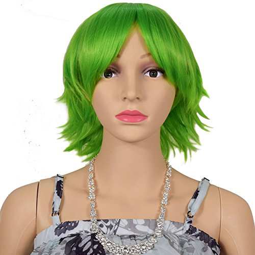 [RightOn 12'' Short Natural Layered Anti-Alice Anime Cosplay Costume Wig Heat Resistance Fiber with Wig Cap (Natural] (Short Green Wig)