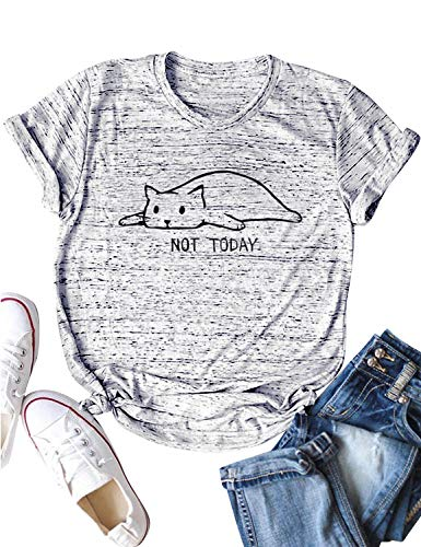 Nlife Women NOT Today Letter Print Short Sleeve Crew Neck Cat Graphic Print Solid Color Tops T Shirt (M, Light Grey) Cat Womens Light T-shirt