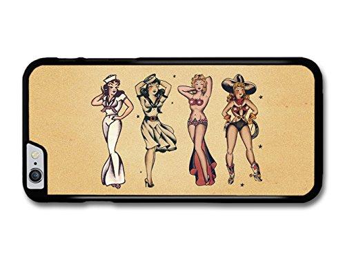 Old Tattoo Vintage Sailor Girls Dancer Cow Girl Illustration coque pour iPhone 6 Plus 6S Plus