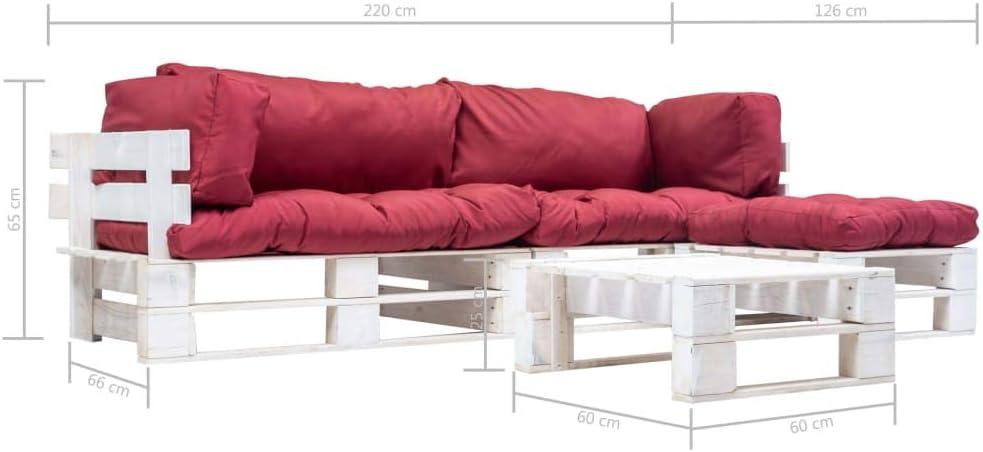 UnfadeMemory Sofa Palets Exterior con Mesa de Centro y Cojines ...