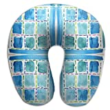 HGBAk Chin Supporting Travel Neck Pillow - Blue Windows Fabric (2469) Print,Neck and Chin in in Any Sitting Position