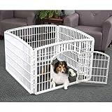 "Cheap IRIS 24"" Exercise 4-Panel Pet Playpen with Door, Pearl White"