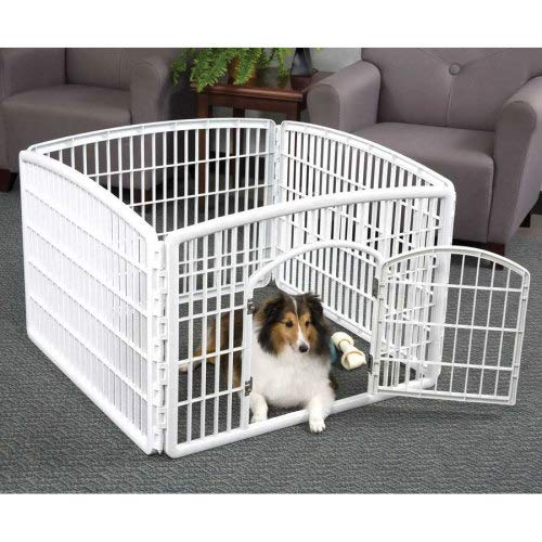 IRIS 24'' Exercise 4-Panel Pet Playpen with Door, Pearl White