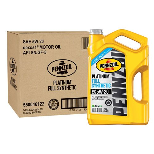 Pennzoil 550046122-3PK Platinum 5 quart 5W-20 Full Synthetic Motor Oil (SN/GF-5 Jug 3pk.) by Pennzoil