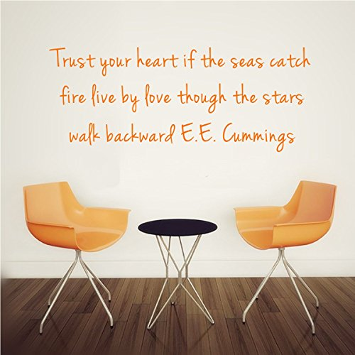 Trust your heart if the seas catchfire live by love though the starswalk backward E.E. Cummings Removable Wall Decal Sticker DIY Art Decor Mural Vinyl Home Room Office Decals - Cumming Women Top On