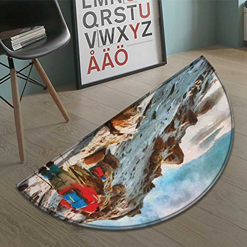 Mountain half moon door mats for home Group of Trekkers Hiking among Snows of Kilimanjaro in Winter in Painting Style Bath Mat Bathroom Mat with Non Slip Multicolor size:35.5