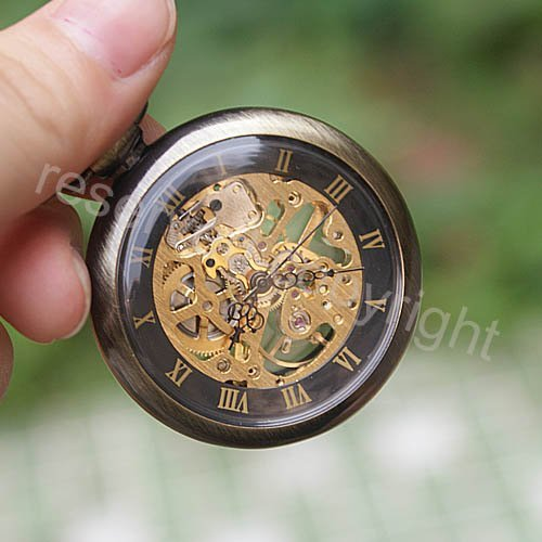 ShoppeWatch Hand Wind Mechanical Skeleton Pocket Watch Open Face Steampunk Style With Chain - PW12 by ShoppeWatch (Image #4)