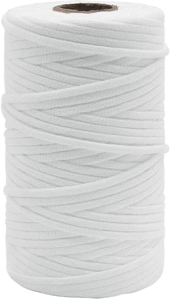 100M//3mm SOFT on ears white Flat Elastic Cord 3mm FACE COVER ROPE Elastic Band