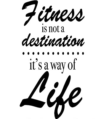"Fitness Wall Quote Removable Vinyl Wall Decal - Fitness Is Not a Destination It's a Way of Life - 11"" X 21"" Black By Katazoom"