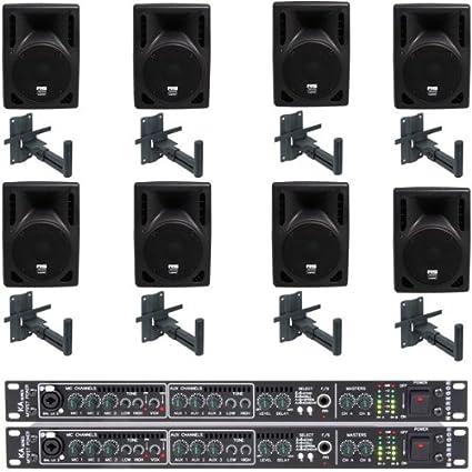 8 x Altavoces pasivos de 8 pulgadas con 2 x 250W Amplificadores con oscilo Soportes