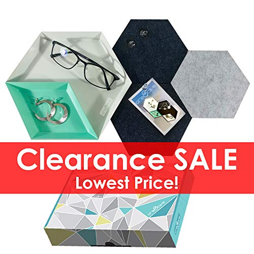 Cre8tivePick Jewelry Tray Office Desk Stationery Organizer Catchall Accessories Holder Hexagon - Geometric Necklace Turquoise