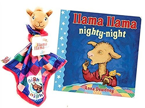 LLama Llama Red Pajama Security Blanket Lovey with Llama Llama Red Pajama Nighty-Night Book Bundle for Babies and - Teddy Mama Bear
