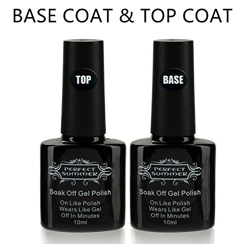 Perfect Summer 10ml Clear Base Coat and Top Coat Gel Nail Polish UV LED Soak Off Dual Sets