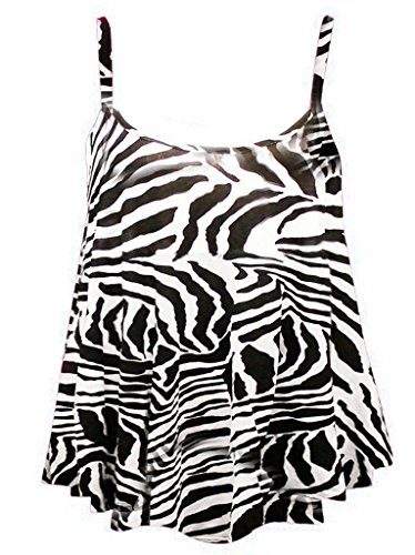 RM Fashions Women's New Strappy Zebra Print Camisole Vest Top - Zebra - US 10-12 (UK 14-16) (Zebra Top Tank Print)