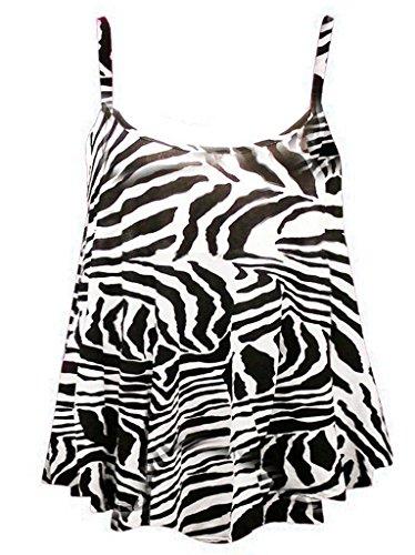 RM Fashions Women's New Strappy Zebra Print Camisole Vest Top - Zebra - US 10-12 (UK 14-16) (Zebra Tank Top Print)