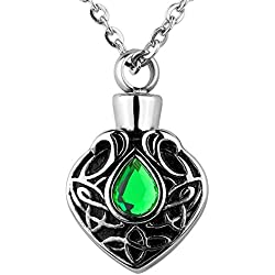 Valyria Memorial Jewelry Celtic Knot with CZ Stone Charm Urn Necklace Keepsake Cremation Ashes Pendant (Non-Engraving)