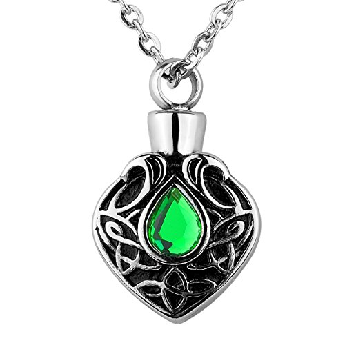 Valyria Memorial Jewelry Celtic Knot with CZ Stone Charm Urn Necklace Keepsake Cremation Ashes Pendant (Non-Engraving) -