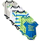 PUMA Baby Boys' 5 Pack Bodysuit Pack, Sky Blue, 0/3M