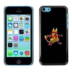 KLONGSHOP // Cubierta de piel con cierre a presión Shell trasero duro de goma Protección Caso - P0kemon Char - iPhone 5C //
