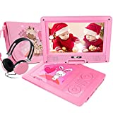 """Electronics : FUNAVO 9.5"""" Portable DVD Player with Headphone, Carring Case, Swivel Screen, 5 Hours Rechargeable Battery, SD Card Slot and USB Port (Pink)"""
