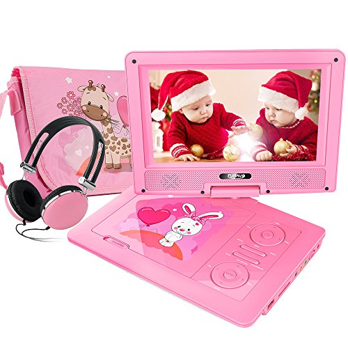 DVD Player with Headphone, Carring Case, Swivel Screen, 5 Hours Rechargeable Battery, SD Card Slot and USB Port (Pink) (Pink Tv)
