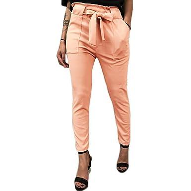 LAIKETE Pantalon Carotte Femme Elegante Taille Haute Vintage Skinny Stretch  Slim Crayon Pantalon Cigarette avec Noeud Ceinture de Bureau Pantalons  Bouffants ... 2c2f80ed2d6